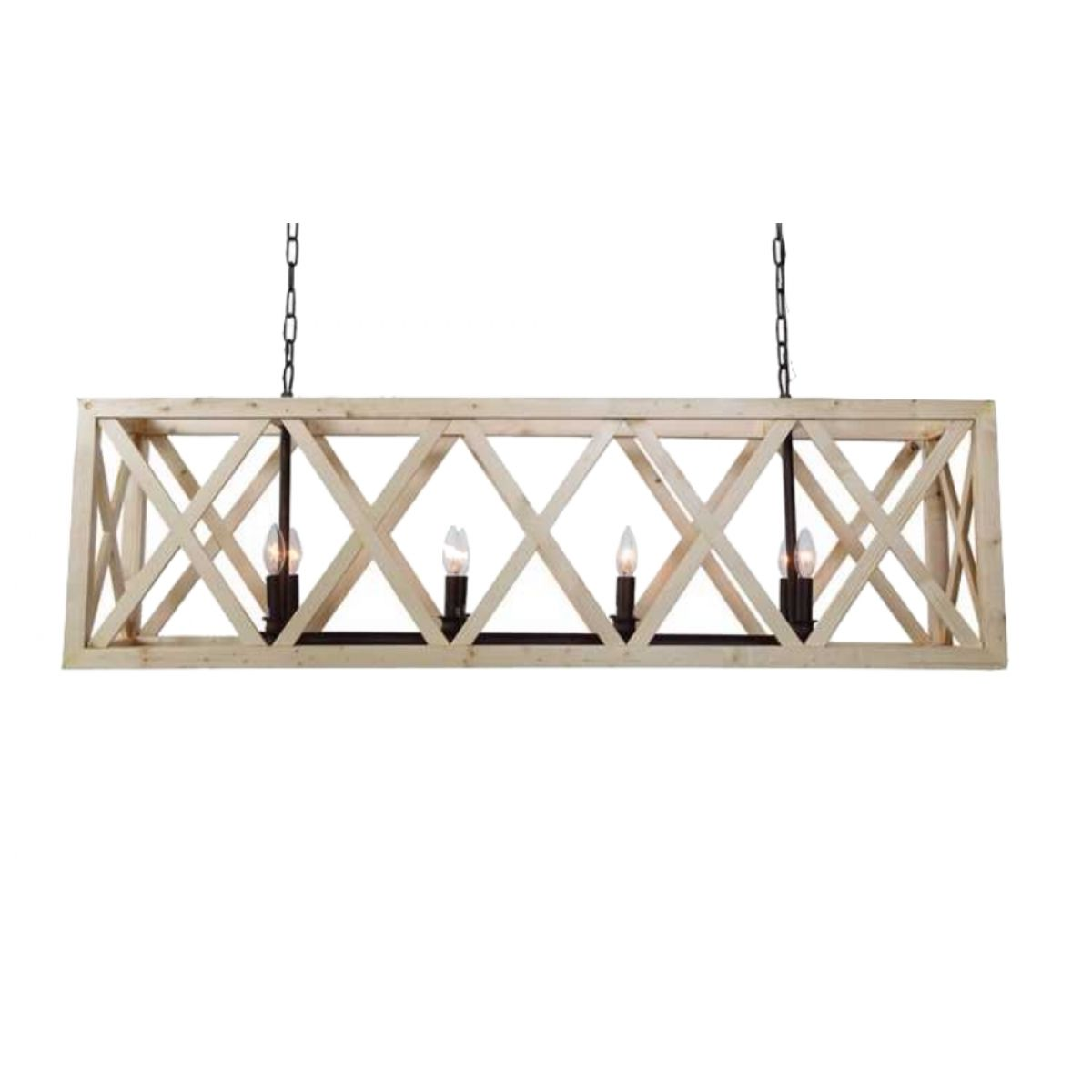 Large criss cross wooden rectangular chandelier american for Rectangular dining room light