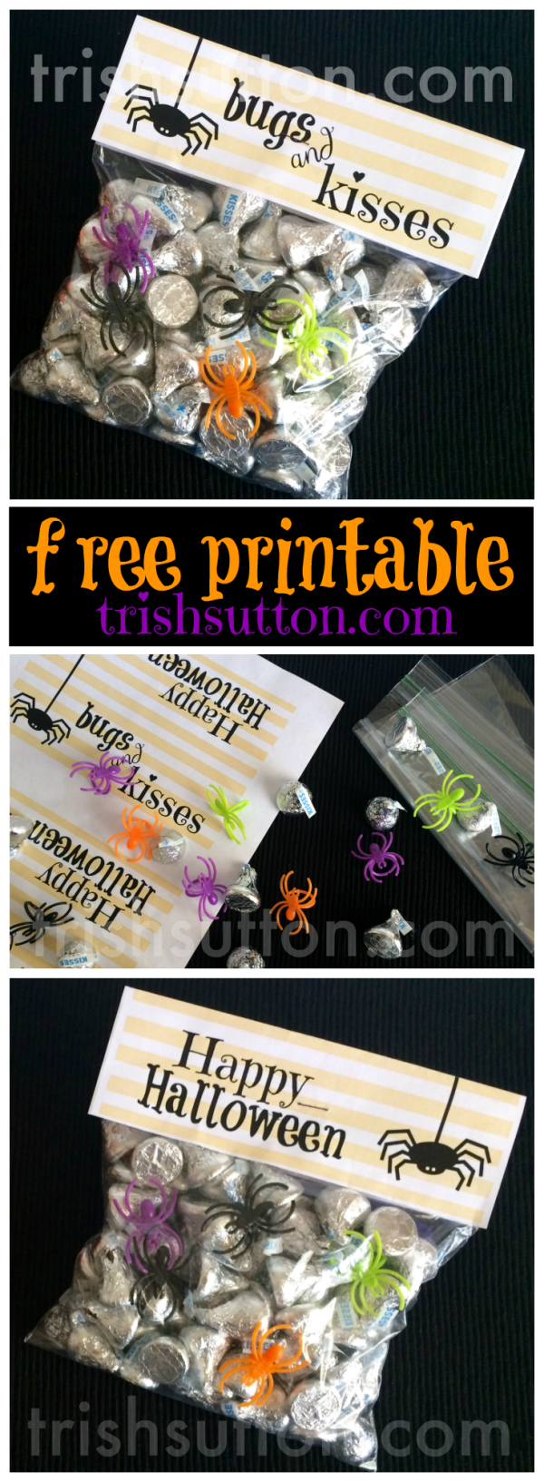 graphic regarding Bugs and Kisses Free Printable identified as Insects Kisses Halloween Take care of and Totally free Printable