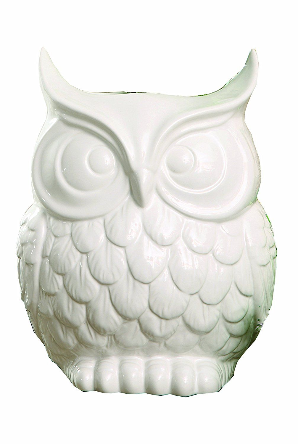 Creative Co-op Glee Dolomite Owl Vase, 9-Inch, White -- Find out more about the great product at the image link. (This is an affiliate link) #Vases
