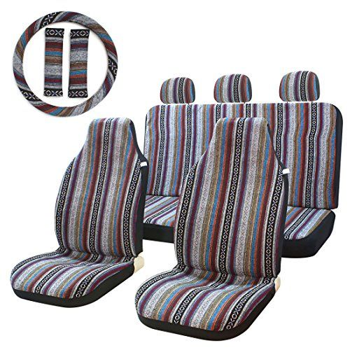 10pc Stripe Multi Color Seat Cover Baja Saddle Blanket Weave Universal Bucket Seat Cover Fit For Cars Vans With Car Accessories Online Market Bucket Seat Covers Steering Wheel Cover Saddle