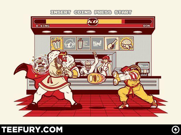 Ronald Mcdonald Vs The Burger King Streetfighter Fighter Street Fighter Teefury