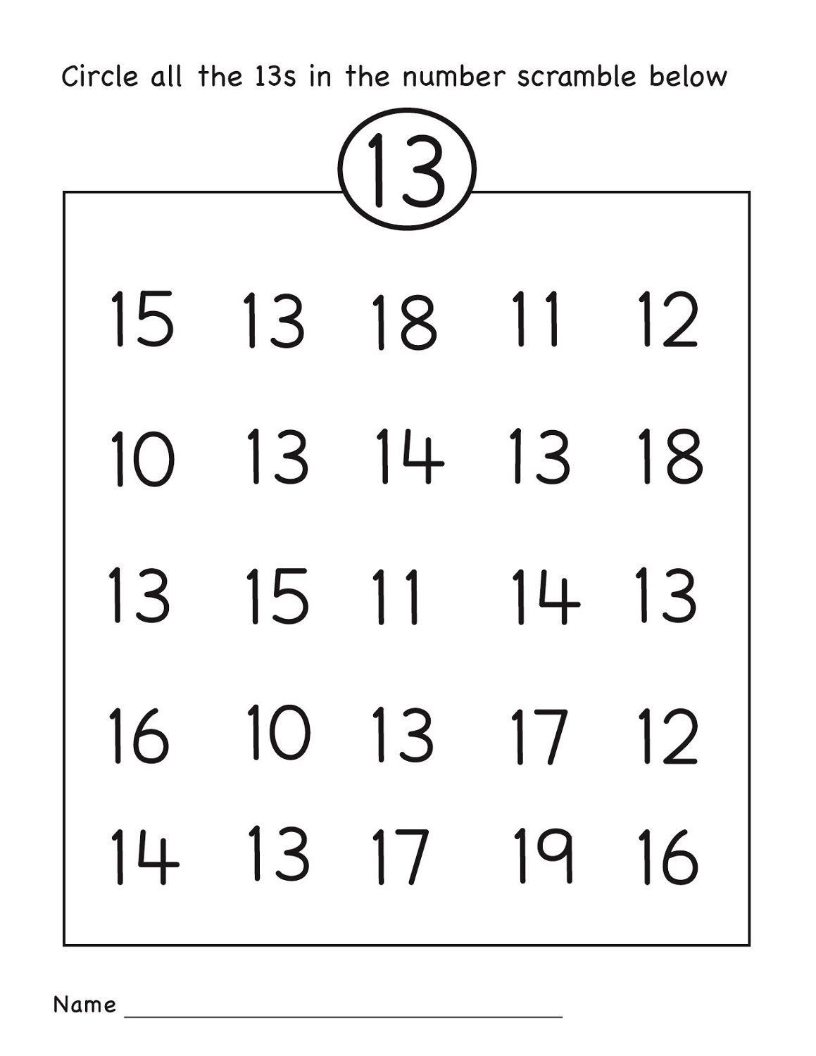 Preschool Worksheet Number Hunt 1