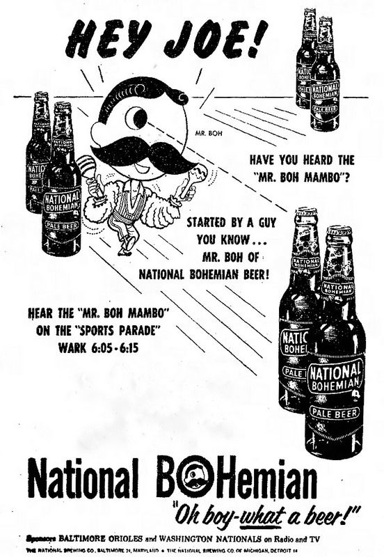 3dc5363db Vintage Newspaper Advertising For National Bohemian Beer With Mr. Boh (aka Natty  Boh), The Morning Herald (Hagerstown, Maryland), June 24, 1955.