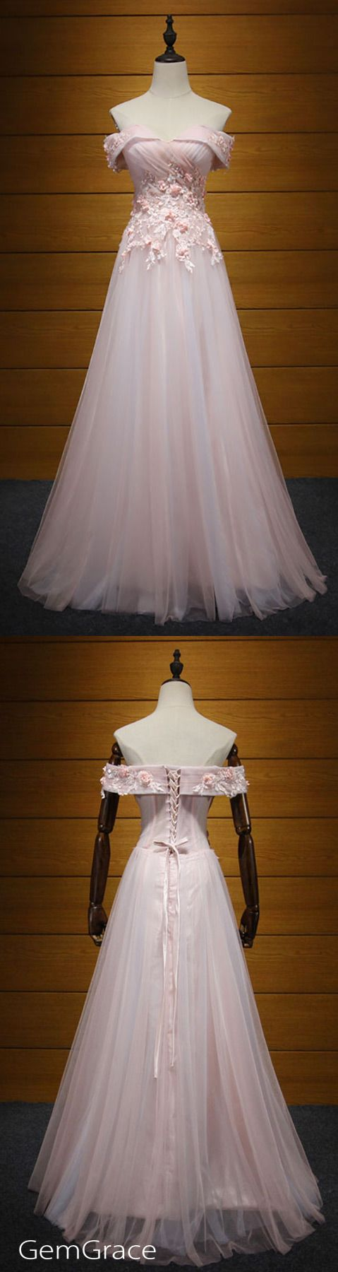 Blush aline offtheshoulder floorlength tulle prom dress with