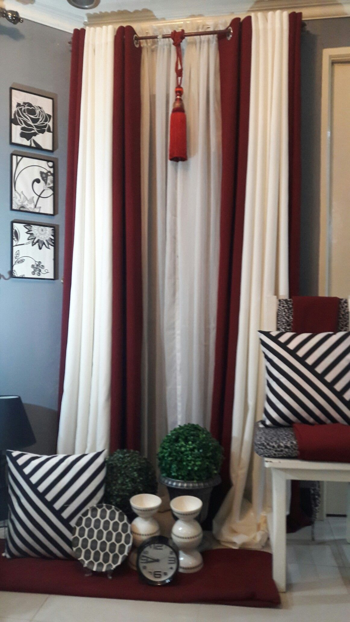 Maroon And Offwhite Grommets Curtains Maroon Curtains Beautiful Bedroom Colors Maroon Room #off #white #living #room #curtains