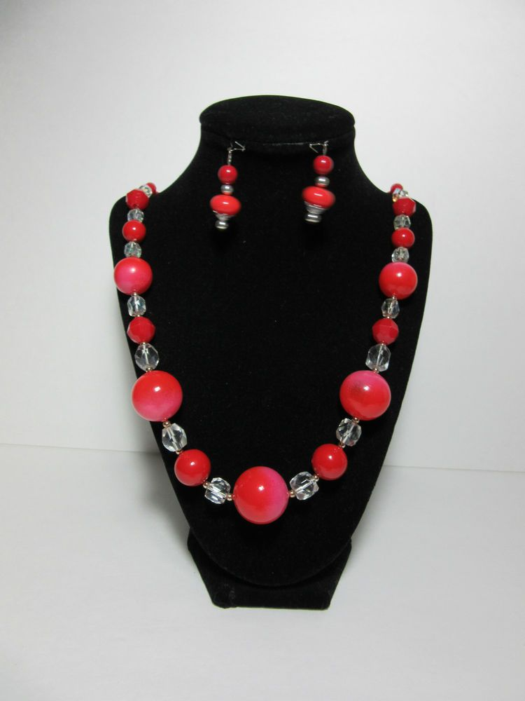 Vintage Red Lucite and AB Crystal Necklace and Earrings