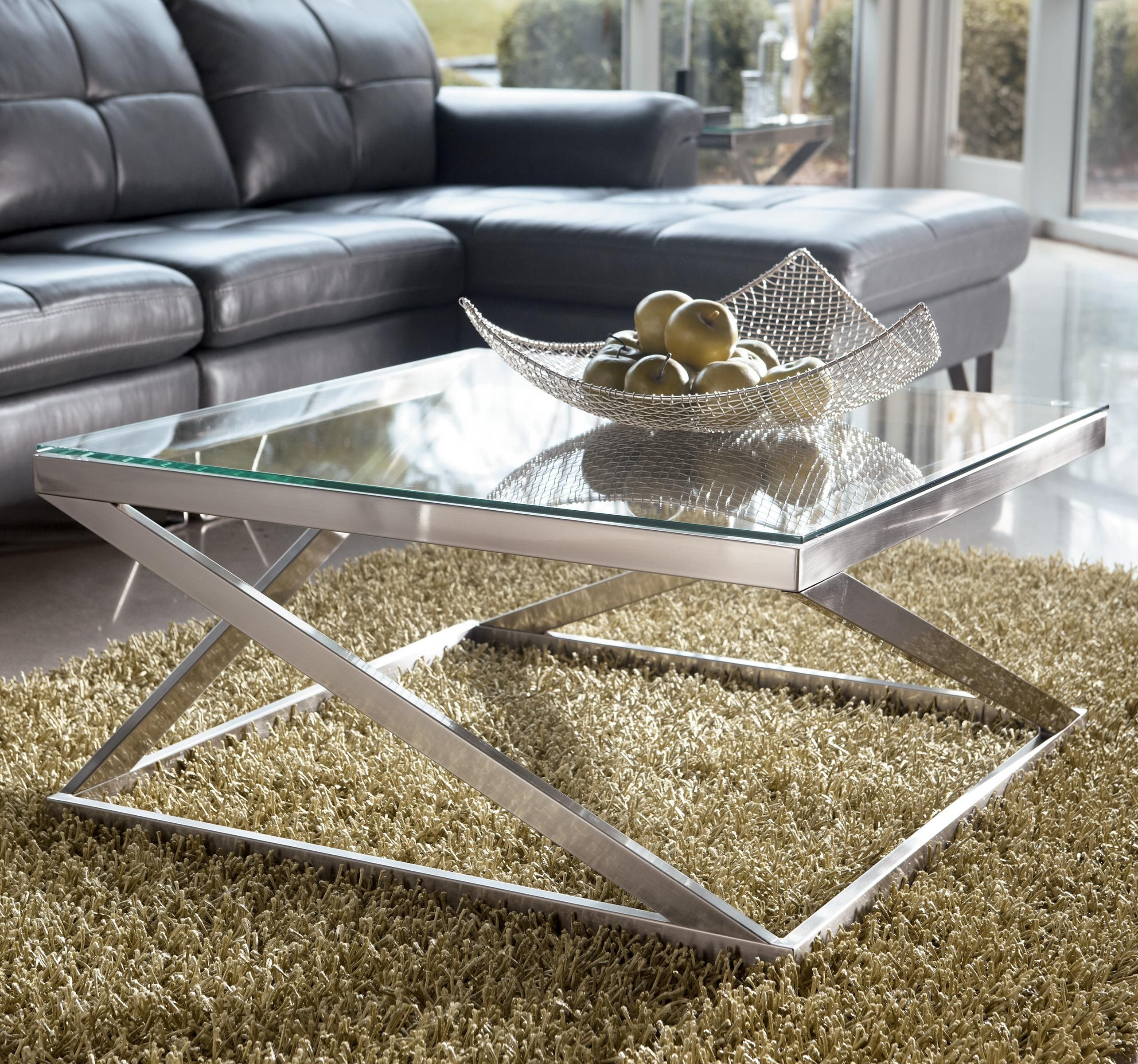 Coylin Brushed Metal Square Cocktail Table With Clear Tempered Glass Top At Belfort Furniture Coffee Table Square Square Cocktail Table Coffee Table [ 2400 x 2568 Pixel ]
