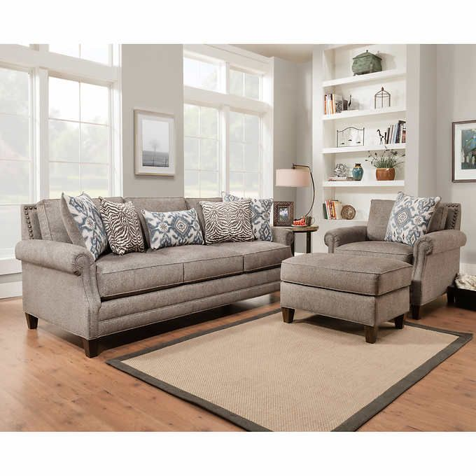 Best Kerrington 3 Piece Fabric Set Gray Living Room Sets 400 x 300