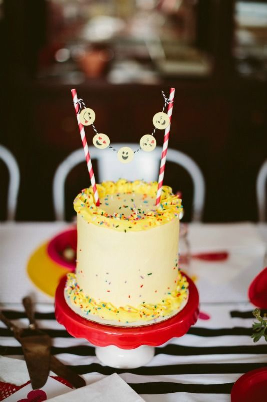 Yellow Funfetti cake with DIY Emoji Cake topper for Galentine's Day…