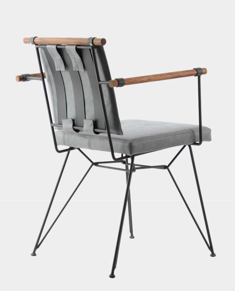 Produktbild Designer Stuhl Ben Stofffarbe Grau Beine Aus Metall