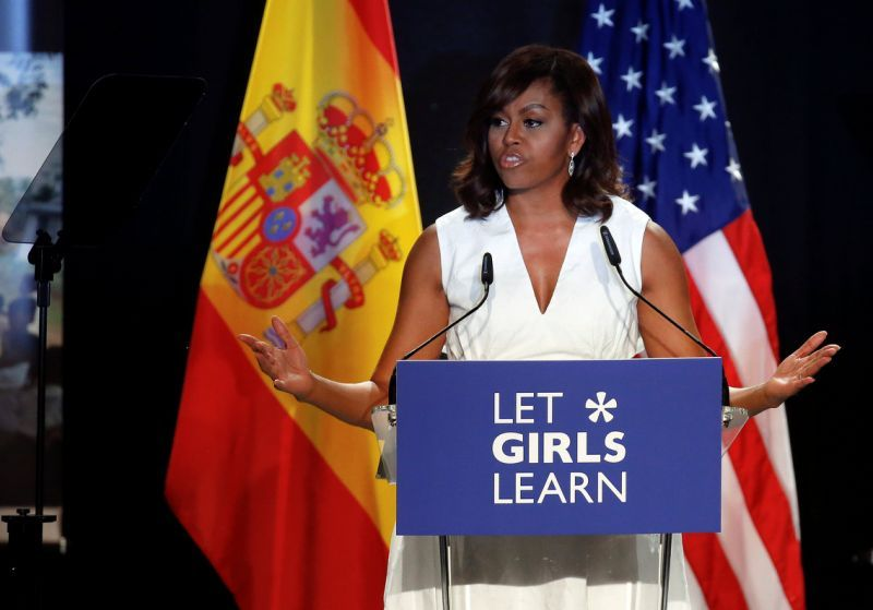 U.S. first lady Michelle Obama speaks during a Let Girls Learn event, to promote girls' education, in Madrid, Spain, June 30, 2016. REUTERS/Andrea Comas