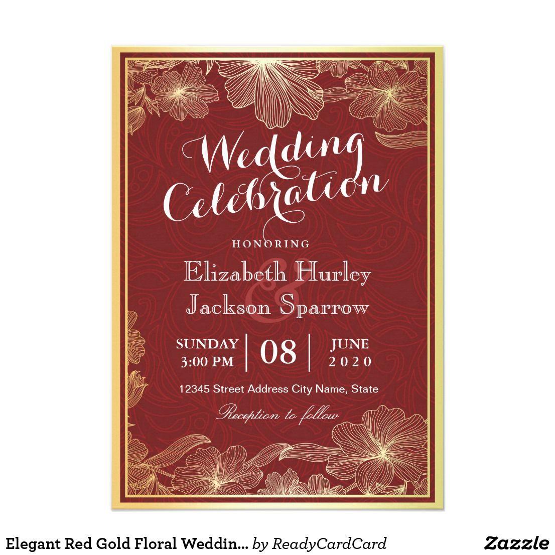 Elegant Red Gold Floral Wedding Shower invitations