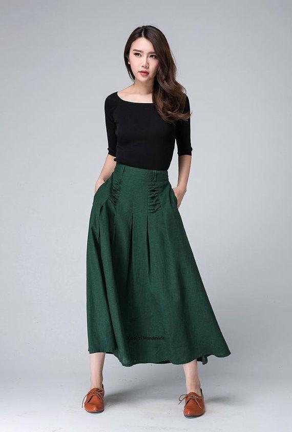 c824530c2a Maxi falda falda verde falda de lino maxi falda diseñador
