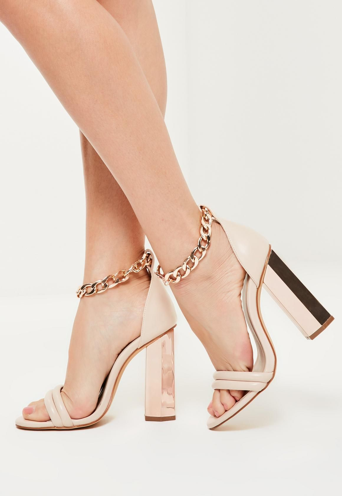 05bca96fcf6 Missguided - Rose Gold Chunky Chain Ankle Strap Block Heeled Sandals ...