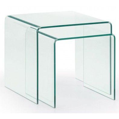 Set van 2 Bijzettafels Burano - Glas 50 x 45 cm
