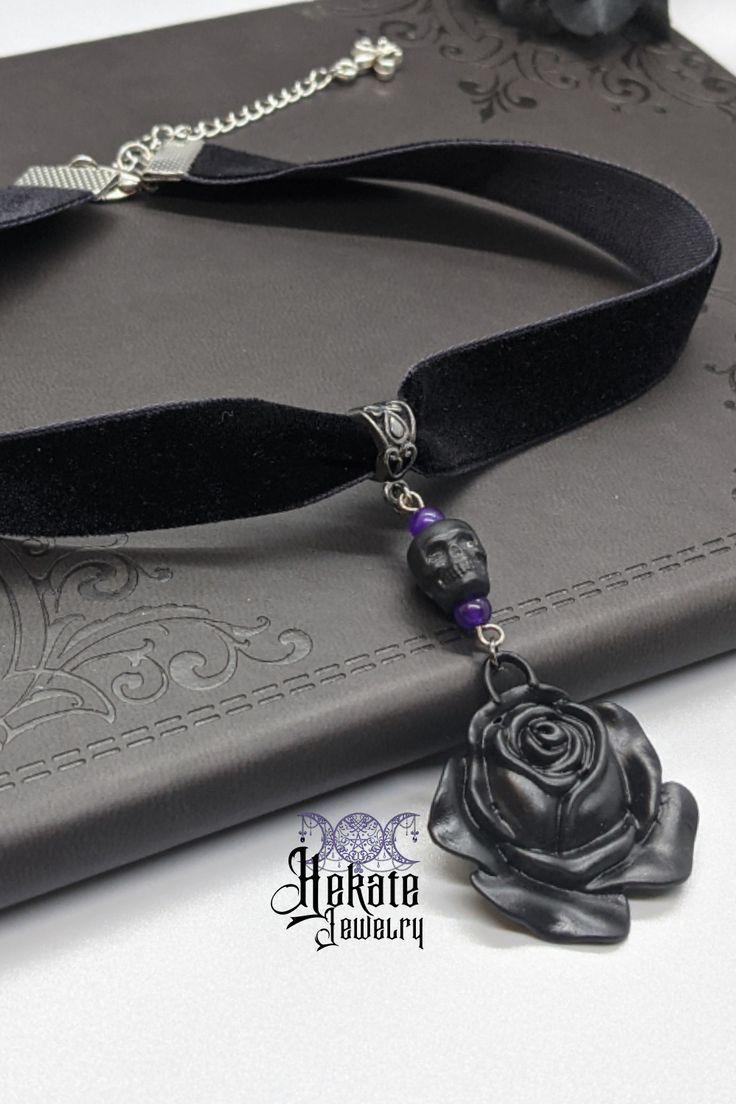 🖤☠🌹Skull Rose Choker ~ Black Velvet with Purple Accents