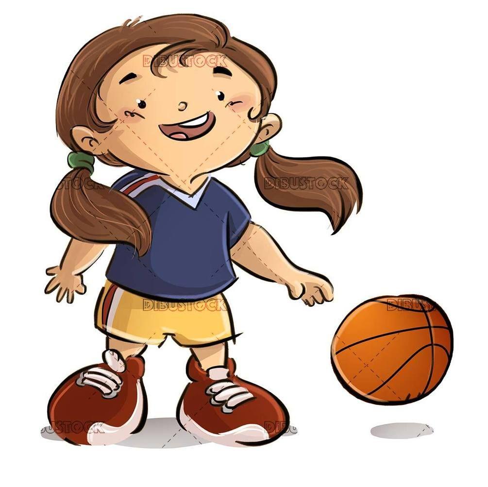 Small Girl Playing Basketball With Ball In 2020 Small Girls Basketball Funny Girl Cartoon