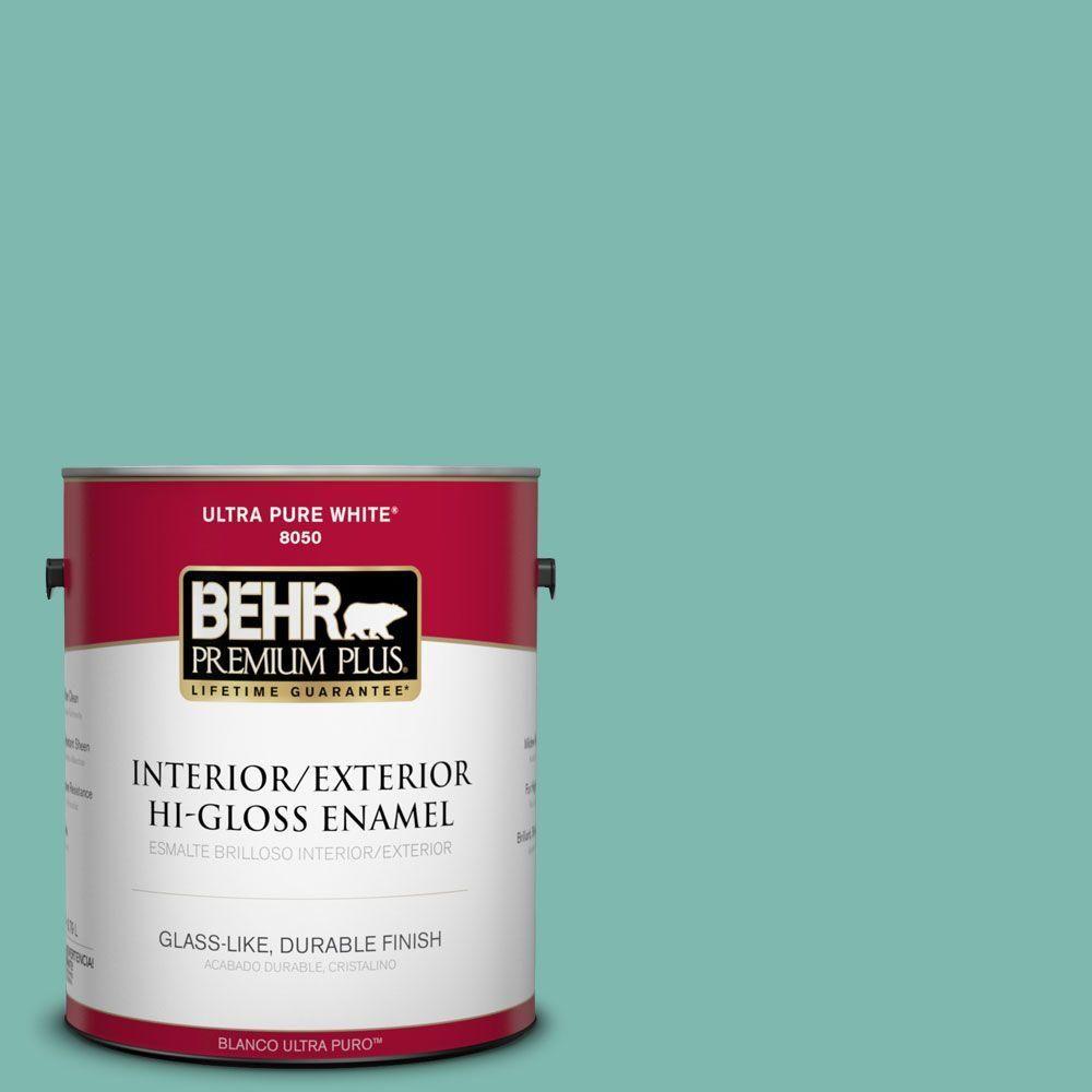 BEHR Premium Plus 1-gal. #490D-5 Winter Surf Hi-Gloss Enamel Interior/Exterior Paint