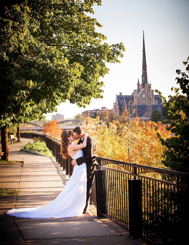 Fall Wedding Long Train Grand River Sun Set Trees Cambridge Mill