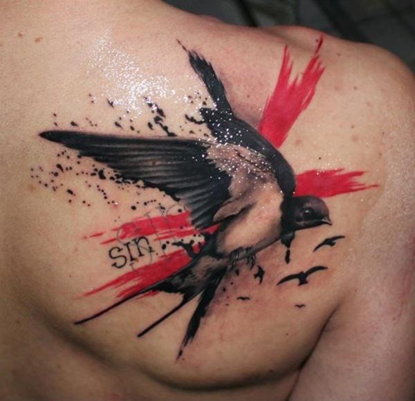 45 Buenas Ideas Para Tatuajes De Aves Tatuaje De Basura Tatuaje