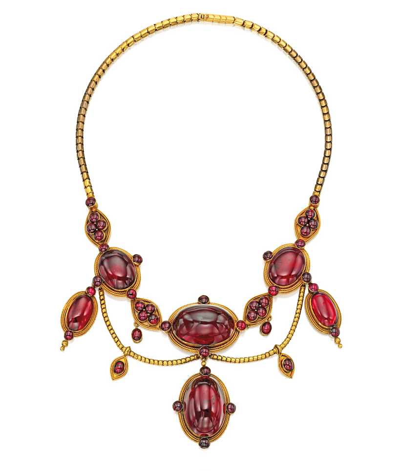 GOLD AND GARNET NECKLACE, Circa 1870. More