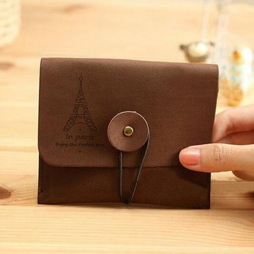 Velour Leather Wallet Vintage Tower Purse Coin Card Key Bag with Clasp Button