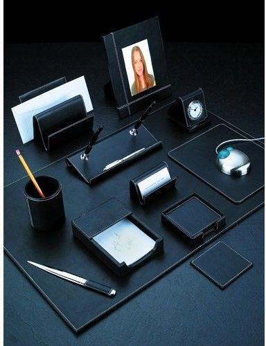 Ancona Leather 10 Piece Desk Set Contemporary Desk Accessories Hayneedle Leather Desk Accessories Desk Set Contemporary Desk Accessories