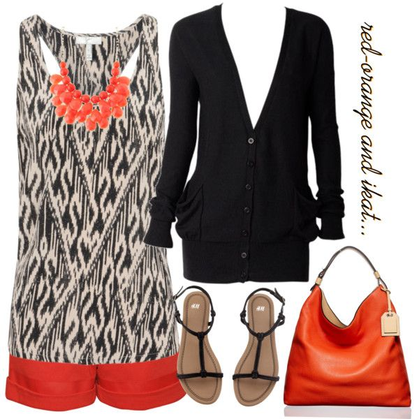 red-orange and ikat, created by jill-hammel on Polyvore