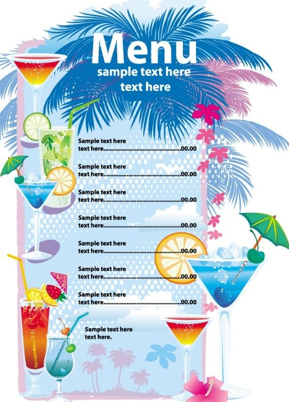 Free Vector Summer Drinks Menu bar Restaurant menu template