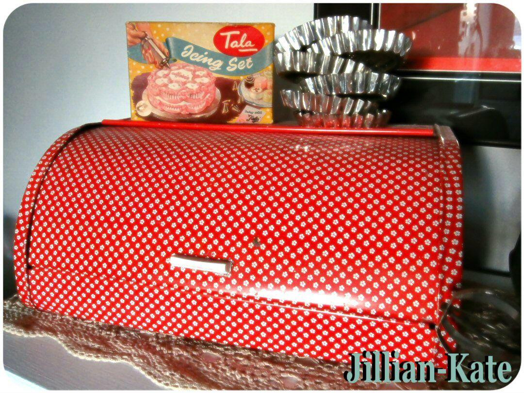 Jillian-Kate\'s kitchen: vintage red & white bread box, Tala icing ...