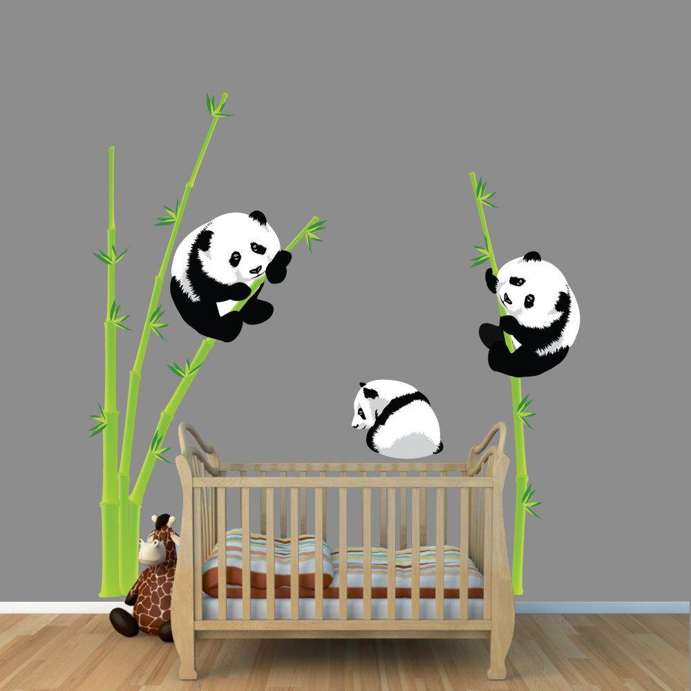 Panda bear wall decal bamboo wall sticker repositionable panda bear wall decal bamboo wall sticker repositionable reusable 5999 amipublicfo Image collections