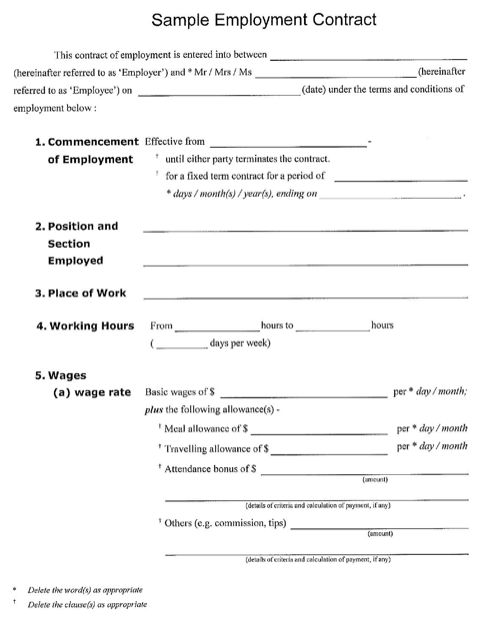 Sample Employment Template Contract