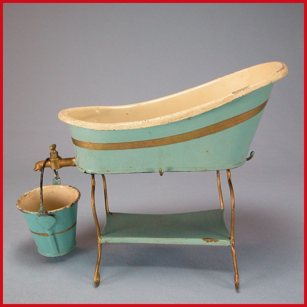 Antique Marklin Dollhouse Enameled Tin Bathtub with Stand with from ...