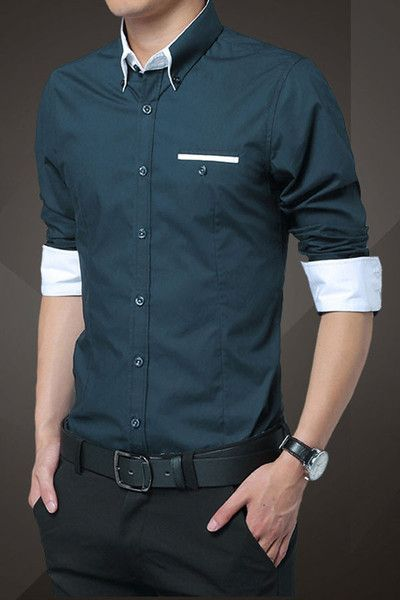 Navy Blue Cotton Squared-Off Collar Classic Mens Shirt | Men dress