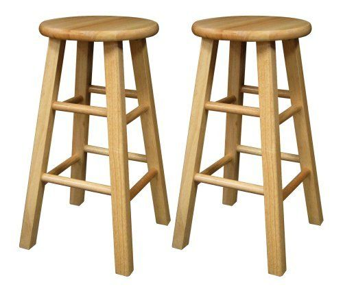 2 Pcs Round Pine Wood Natural Finish Bar Stool Wood Color Endearing Walmart Kitchen Stools Decorating Inspiration