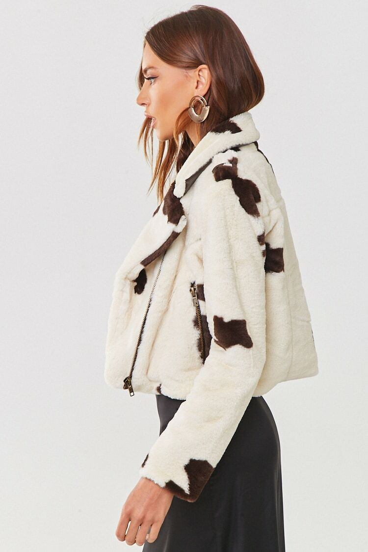 Plush Cow Print Moto Jacket Forever 21 In 2021 Jackets Print Clothes Moto Jacket [ 1125 x 750 Pixel ]