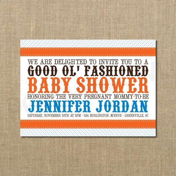 Good Old Fashioned Baby Shower Invitation Baby Girl Baby Boy