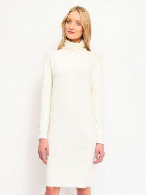 Λευκό πλεκτό φόρεμα ζιβάγκο με μακρύ μανίκι  b7ea9ec6001