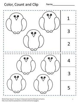 Birds Preschool, Count to 10 Count and Clip Cards, Summer