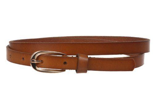 "Women's 1/2"" (13 mm) Skinny Solid Leather Dress Belt Size..."