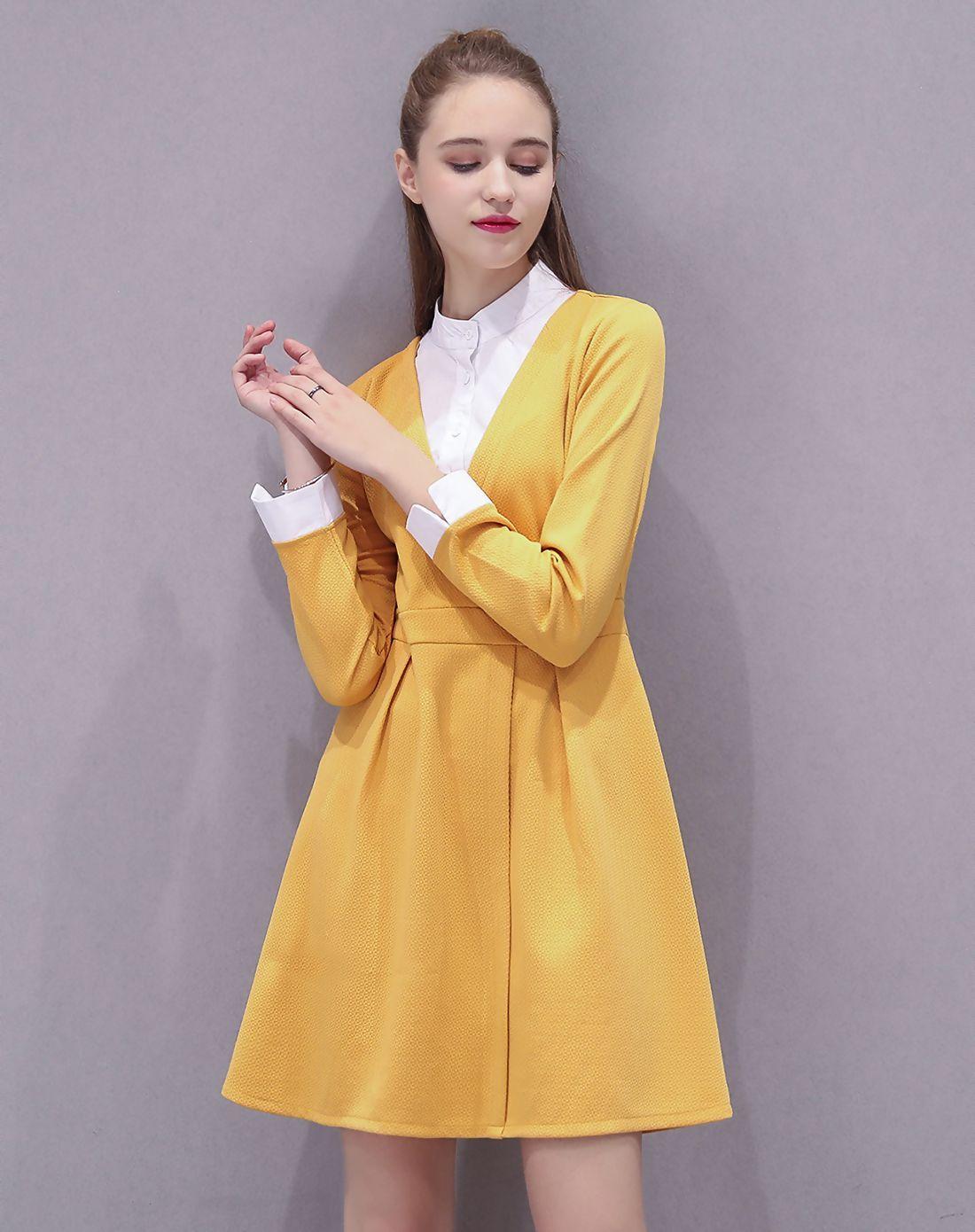 #AdoreWe #VIPme Shirt Dresses❤️Designer Quintina Yellow Paneled Shirt Collar Long Sleeve Dress - AdoreWe.com