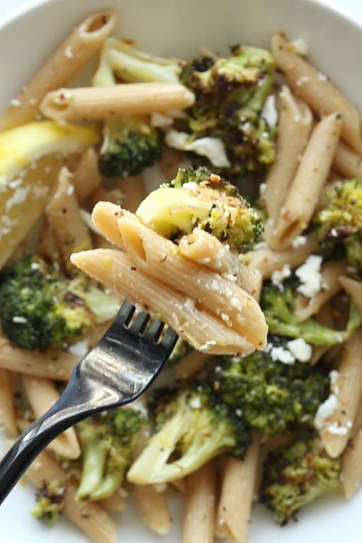 Roasted Broccoli Pasta with Lemon and Feta