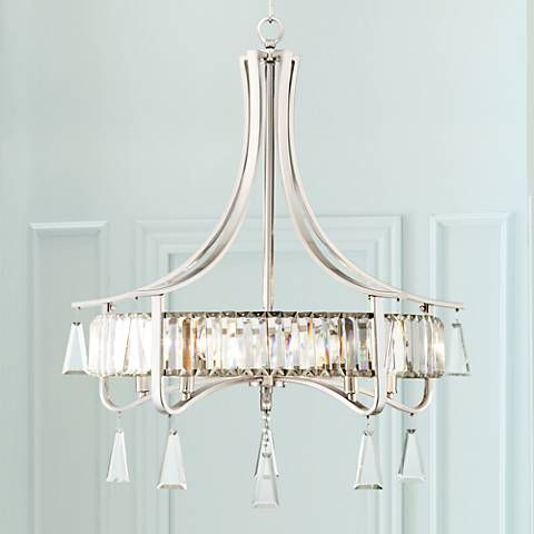 Rivalta 5 light 26 1 2w brushed steel crystal chandelier style 1g904