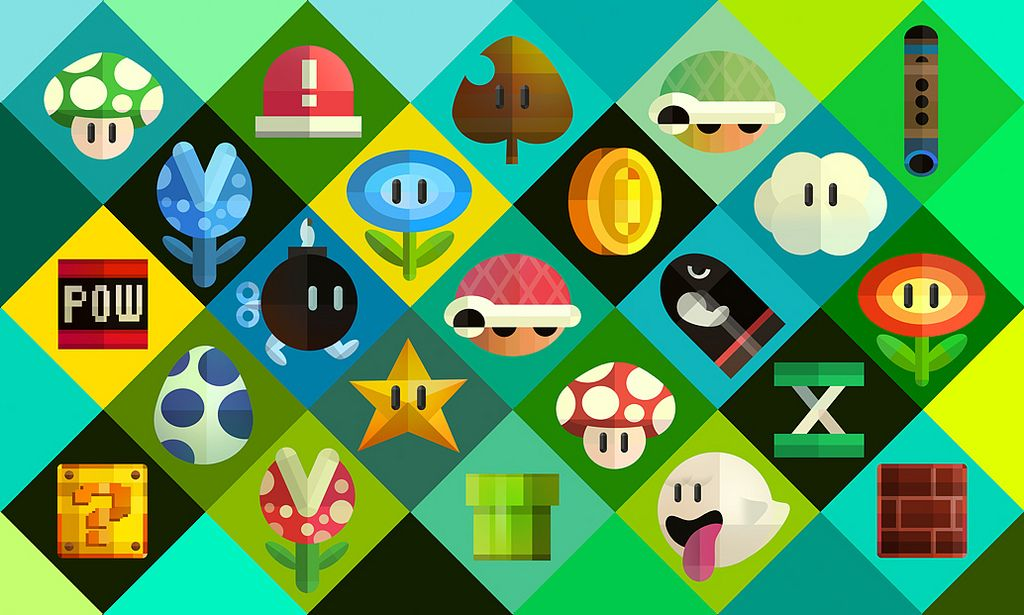 """""""Mario Items"""" by Scott Balmer. You can download this pleasant illustration as a background for your PC, tablet, or mobile device here — you can even get a set of icons based on the power-ups, enemies, and items, too.  Buy: New Super Mario Bros. 2See also: More New Super Mario Bros. 2 news, media"""