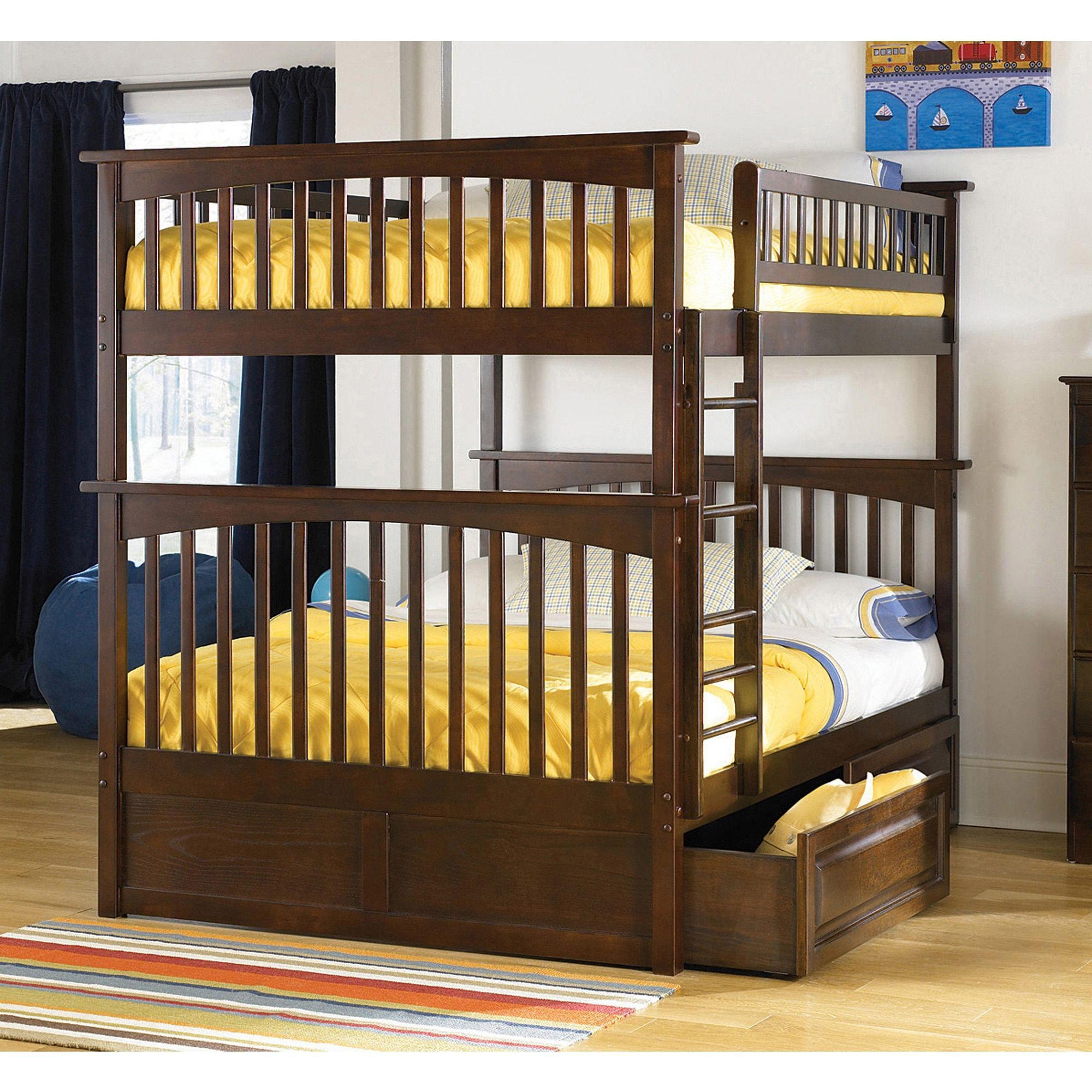 Atlantic Furniture Columbia Bunk Bed Full Over Full With Raised