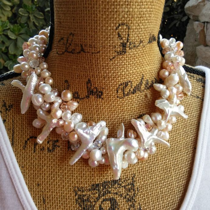 Bridal Pearl  Statement Necklace, Handmade, Chunky, Bib, Collar, Twisted Wire
