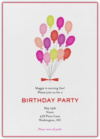 paperless post paris balloons pink invite kidsbday invites