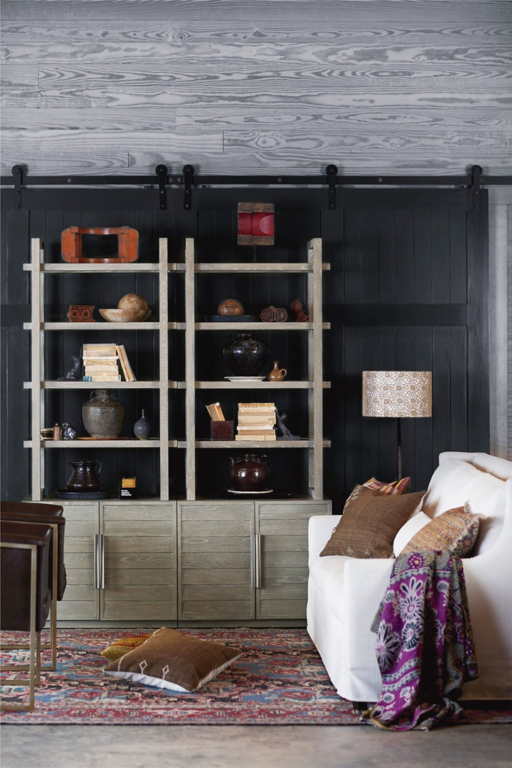 An Open Aired Backdrop Is Framed By Four Wooden Shelves Making The Zephyr Etagere A Simple Solution For Bo In 2020 Furniture Universal Furniture Living Room Furniture