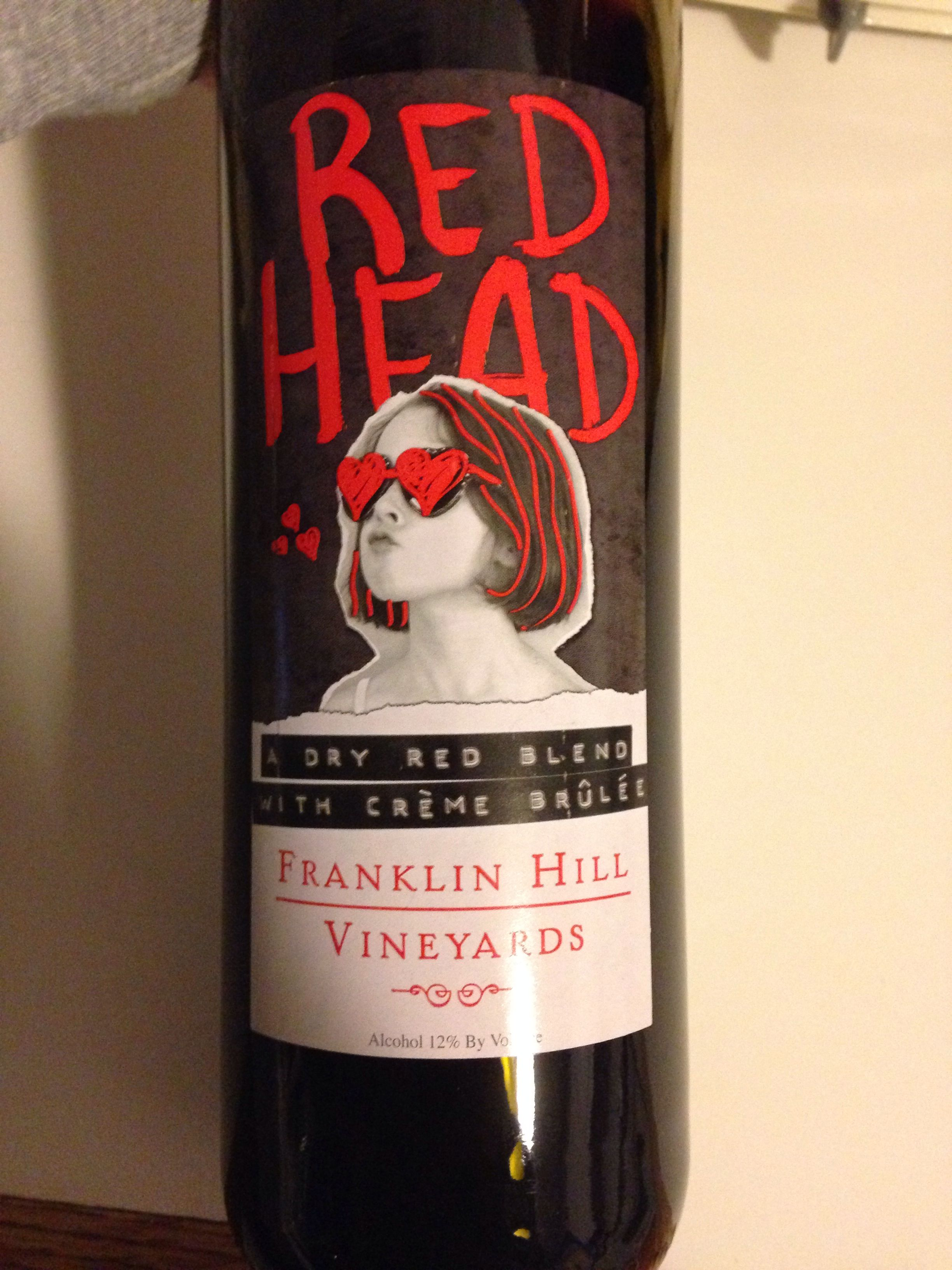 A Dry Red Blend With Creme Brulee Red Head Franklin Hill Vineyards Pa Wines Wine Bottle Red