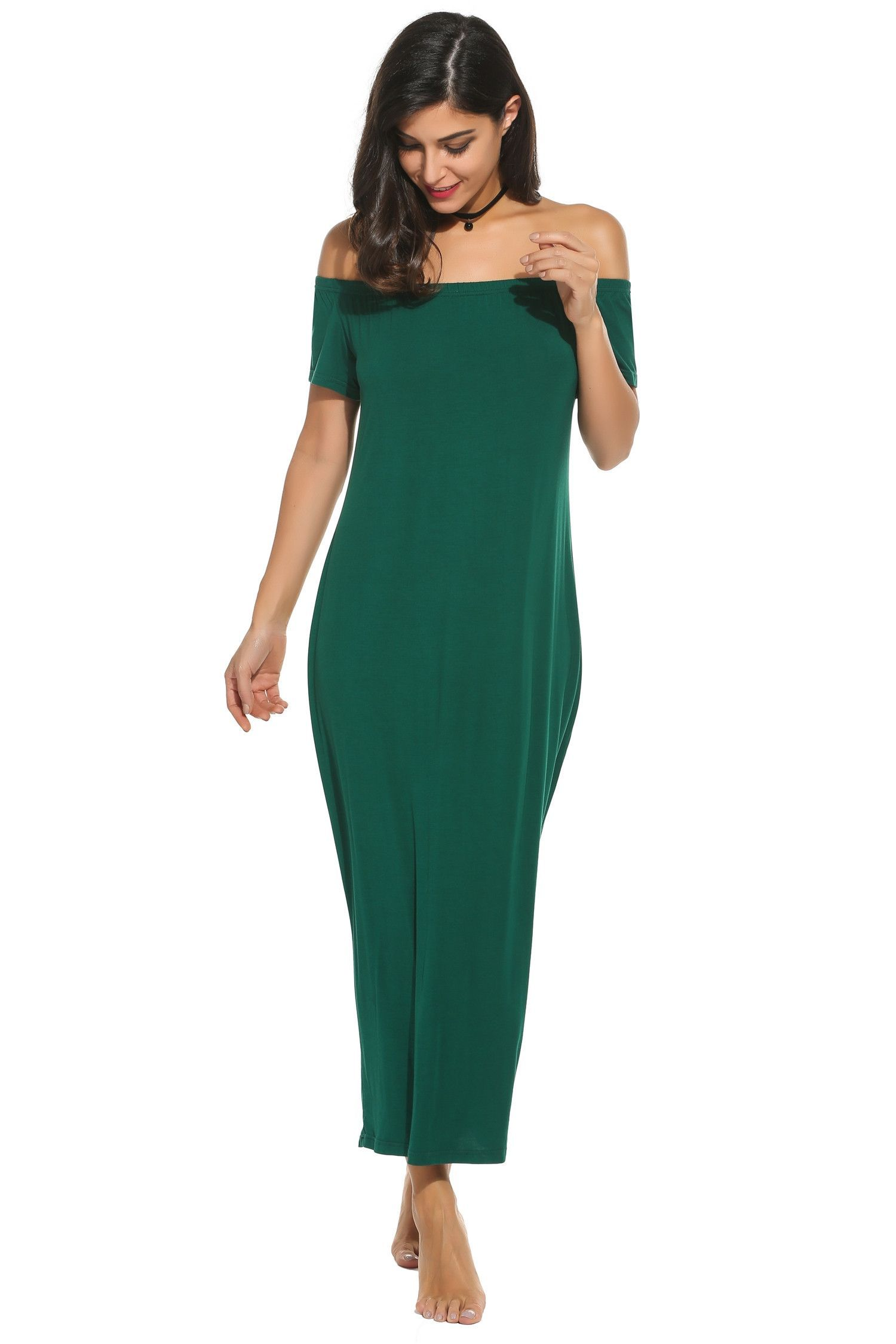 Green women off the shoulder short sleeve casual loose fit long maxi